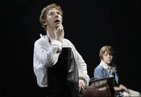 Benedict Cumberbatch, left, as Victor Frankenstein, shares a moment of contemplation with his younger brother William (Haydon Downing). Photo by Catherine Ashmore, from the web site of the National Theatre.
