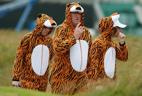 Tiger Woods fans follow the play during the second practice round before the start of the 141st Open Championship at Royal Lytham & St Annes on July 17, 2012 in Lytham St. Annes, England.  (Ross Kinnaird/Getty Images)
