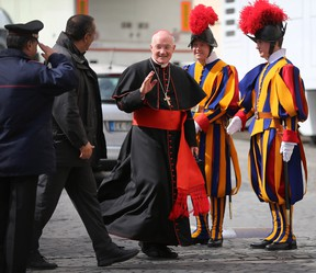 VATICAN CITY, VATICAN - Canadian Cardinal Marc Ouellet leaves after attending the final congregation before electing a new Pope. Cardinals are set to enter the conclave on Tuesday to elect a successor to Pope Benedict XVI after he became the first pope in 600 years to resign from the role. The will be held inside the Sistine Chapel and attended by 115 cardinals as they vote to select the 266th Pope of the Catholic Church.  (Photo by Joe Raedle/Getty Images)