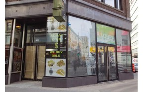 Commercial space for rent in 2 buildings at 453 and 455 Ste. Catherine St. west in Montreal, on Monday, May 12, 2014. There is a lot of retail vacancy on Montreal's main shopping street.