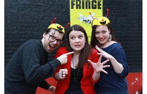 Fringe Festival director Amy Blackmore (centre) in a sting with festival spokespeople Simon Boulerice and Holly Gauthier-Frankel and Tuesday, May 6, 2014.