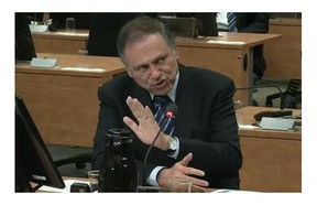 Gabriel Soudry testifies Wednesday, May 21, 2014 at the Charbonneau Commission in Montreal.