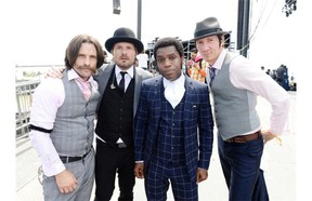Nalle Colt, left, Richard Danielson, Ty Taylor and Rick Barrio Dill of Vintage Trouble backstage during Day 2 of the 2013 Coachella Valley Music & Arts Festival at the Empire Polo Club in Indio, California.