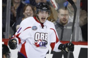 Team Orr's Brendan Lemieux celebrates his goal against Team Cherry during CHL Top Prospects game on Jan. 15, 2014. The son of former Canadien Claude Lemieux scored 27 goals and collected 26 assists last season while leading the Colts with 145 penalty minutes.