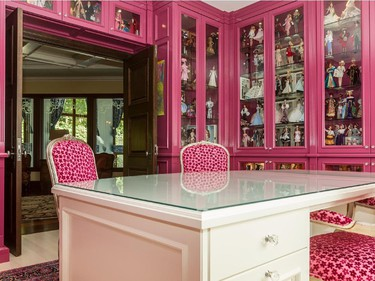 Wall-to-wall cabinetry houses the Barbie collection in this $12-million mansion on Nun's Island in Verdun, on Friday, Oct. 3, 2014.