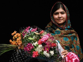 Pakistani rights activist Malala Yousafzai, 17, on October 10, 2014. The Nobel Peace Prize was awarded to Malala Yousafzai and India's Kailash Satyarthi for their work promoting children's rights.
