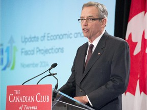 Federal Finance Minister Joe Oliver delivers the Update of Economic and Fiscal Projections in Toronto on Wednesday, Nov. 12, 2014.