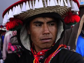 A Huichol man wear a traditional hat in an image from the documentary film Huicholes: The Last Peyote Guardians. (Image from trailer )