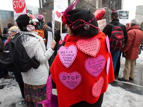 On Valentine's Day 2013, a rally in Montreal's Victoria Square to protest against sexual violence.
