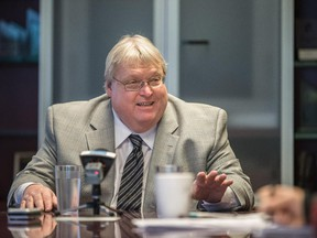 Quebec health minister Gaétan Barrette speaks to Montreal Gazette journalists at the Montreal Gazette offices in Montreal on Monday, November 17, 2014.