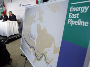 File photo: The Energy East pipeline proposed route is pictured as TransCanada officials speak during a news conference in Calgary, on Aug. 1, 2013.