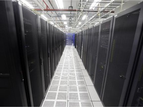 Rows of servers at a data centre.