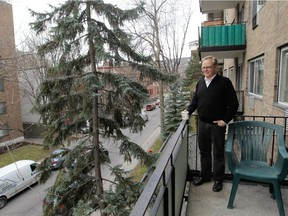 Peter Loorits on the balcony of his apartment in Westmount.