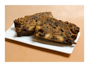Slices of Ken Ilasz's fruitcake, made in Montreal.
