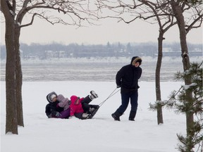 In December 2013, Dorel Furdui's familial cargo, including wife Anna and daughters Camelia, 5 (front) and Delia, 3, tumbled from the sled he was dragging in Lachine.