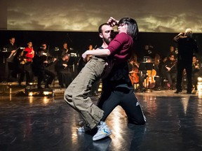 Karina Champoux and Philippe Boutin perform at Ensemble Caprice's 25th anniversary spectacle with Dave St-Pierre dance.