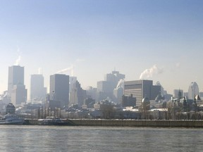 Haze over downtown Montreal on a sunny December day in 2009.