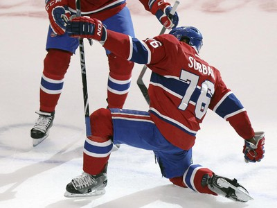 Montreal Canadiens P.K. Subban celebrates his game-winning goal during overtime with teammate Manny Malhotra during overtime of National Hockey League game against the Nashville Predators in Montreal Tuesday January 20, 2015.