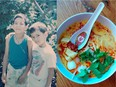 """Alex and Mat Winnicki, a.k.a. the Satay Brothers; laksa soup with rice noodles, fried tofu, coconut milk and spicy shrimp paste."""""""
