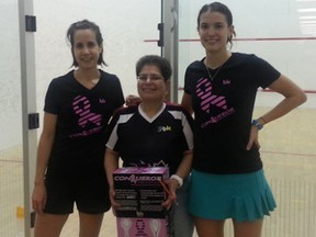 Laurie Lanfer, director of Le Black Knight Conqueror Squash Challenge for Breast Cancer Research squash tournament, flanked by Alexandra Norman, Number 3 ranked Canadian women's squash player, left, and Samanta Cornett, Number One ranked Canadian women's squash player.