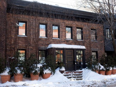 The red brick facade of the home of Alain Dancyger in Montreal on Tuesday, February 10, 2015.
