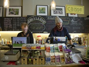 Mateo Solkin and Max Godber work the counter at Coop La Maison Verte in NDG.  The COOP serves the community and is a great example of a socially-minded business.
