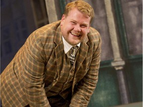 In this theatre image released by Boneau/Bryan-Brown, James Corden is shown in a scene from One Man, Two Guvnors,performing at the Music Box Theatre in New York. Corden takes over CBS' The Late Late Show, Craig Ferguson's former home, on Monday just after 12:30 a.m.