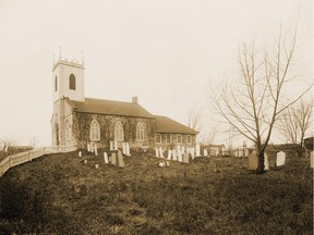 St. Andrew's United Church in Lachine, in undated photograph probably taken in the 1890s. The church was founded by Scottish Presbyterians employed in the fur trade, in 1818. The church building, designed by famed architect John Wells, was built in 1832-34. The photograph shows a graveyard that no longer exists; the graves were later moved to another cemetery. People buried there included relatives of fur trader Simon Fraser and the Dawes family of brewers.  SOURCE: McGill University Archives