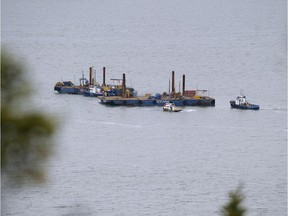 Two barges conduct seismic tests in the St-Lawrence river, off Cacouna village, September 23, 2014 in order to build an oil terminal for TransCanada that would start operating in 2018.