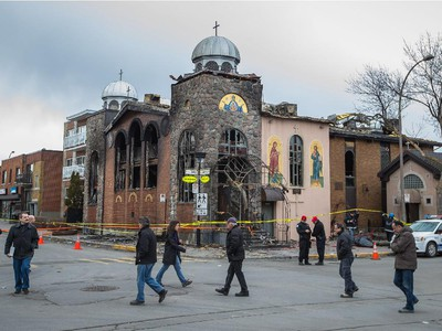 The scene of the overnight fire at the Koimisis Tis Theotokou Greek Orthodox Church, also called Panagitsa, on the corner of De L'Épée st. and St-Roch st. in the neighbourhood of Parc Extension April 14, 2015.