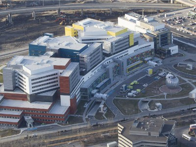 A view of the new MUHC's Glen Site in Montreal Sunday, April 26, 2015 as patients arrive after being transported from the Royal Victoria Hospital on Mount-Royal as part of the largest hospital move in Canadian history.