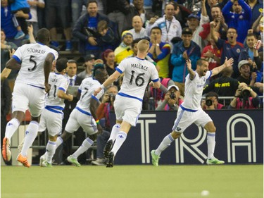 Andres Romero of the Montreal Impact celebrates his first-half goal in the final game of CONCACAF Champions League final between Montreal Impact and Club America .