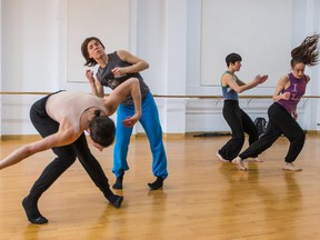 Left to right: Contemporary dancers Katrine Patry, Anne-Marie Jourdenais, Claudine Hebert and Caroline Gravel rehearse Jacques Poulin-Denis's (Very) Gently Crumbling at the Louise Lapierre Danse studio in Montreal on Thursday, April 9, 2015.