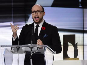 Author Sean Michaels gives his acceptance speech after winning the 2014 Giller Prize in Toronto, Monday, Nov.10, 2014. Michaels will speak at the Côte Saint Luc Library on Wednesday.