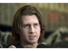 Canadiens defenceman Jeff Petry talks to reporters in Brossard on May 14, 2015 as the Canadiens cleared out their lockers after being eliminated by the Tampa Bay Lightning in the playoffs.