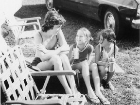 Left to right, Eileen Latimer with her daughters Libby  and Joanne at Sable Beach in Ontario in the summer of 1972.