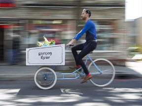 """""""Flowers that grew outdoors with sun and earth and rain smell better and look better to me,"""" says Raphaël Gaspard, who makes deliveries by bike from his store Garçon Fleur."""