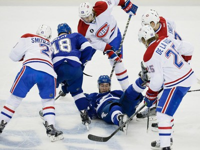 Tampa Bay Lightning defenceman Mark Barberio as Lightning and Montreal Canadiens players fight for the puck during the first period of game four of their NHL eastern conference semi-final hockey series at Amalie Arena in Tampa on Thursday, May 7, 2015.