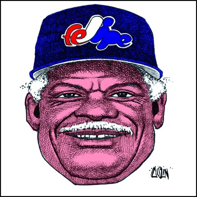 Expo manager Felipe Alou with altered Expos logo on his cap.