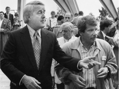 Prime Minister Brian Mulroney and Montreal mayor Jean Doré do a tour of the new park on Ile Notre-Dame on Friday, July 17, 1992.