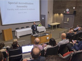 McGill's dean of medicine, David Eidelman speaks to members of the McGill's medical faculty during special meeting on Wednesday June 17, 2015 to discuss the probation by two accrediting bodies for falling short of standards for their curriculum and other issues.