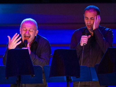 Jean-Claude Acquaviva, left, and Francois Aragni, right, of the ensemble from Corsica A Filetta perform at the Maison Symphonique de Montreal for the Montreal International Jazz Festival at Place des Arts in Montreal on Friday, June 26, 2015.