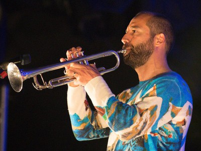 Kyle Resnick of the American music group Beirut performs for the Montreal International Jazz Festival at Place des Arts in Montreal on Friday, June 26, 2015.