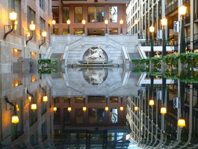 Grab an espresso and retire to the splendid fountain inside the Montreal World Trade Centre, a hotel, shopping and office complex.