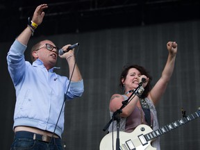 Stars' Torquil Campbell and Amy Millan perform at the 2013 edition of Osheaga. The band returns to the festival on Friday, July 31 to celebrate the 10th anniversary of the breakthrough album Set Yourself on Fire with a guest list that includes members of the Dears, the Barr Brothers, Of Monsters and Men, Broken Social Scene and others.