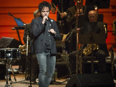 jazz-pop singer and songwriter Jamie Cullum performs during the opening number at Maison symphonique de Montréal during the Montreal International Jazz Festival in Montreal, on Wednesday, July 1, 2015.