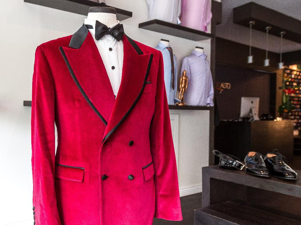 The red velvet jacket that P.K. Subban wore to the NHL Awards in Las Vegas on display at the Sartorialto high-end men's fashion store in Montreal on July 2, 2015.