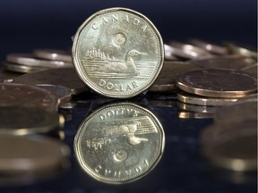 A loonie, reflected.