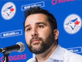 Blue Jays general manager Alex Anthopoulos speaks to media during news conference in Toronto, on July 28, 2015.