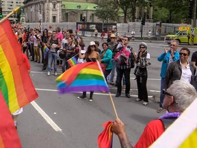 Montrealers lined René Lévesque Blvd. to watch last year's Gay Pride Parade navigate through the streets of Montreal.